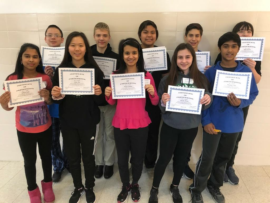 Team Places First At Annual Middle School Math Competition