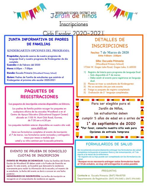 Kindergarten Registration Info Spanish